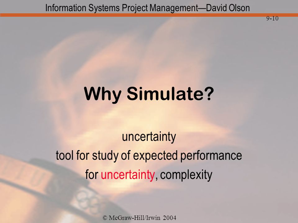 Why Simulate uncertainty tool for study of expected performance