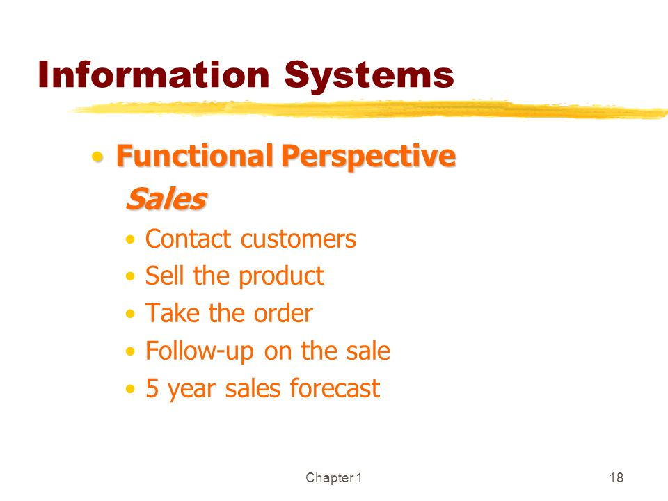 Information Systems Functional Perspective Sales Contact customers