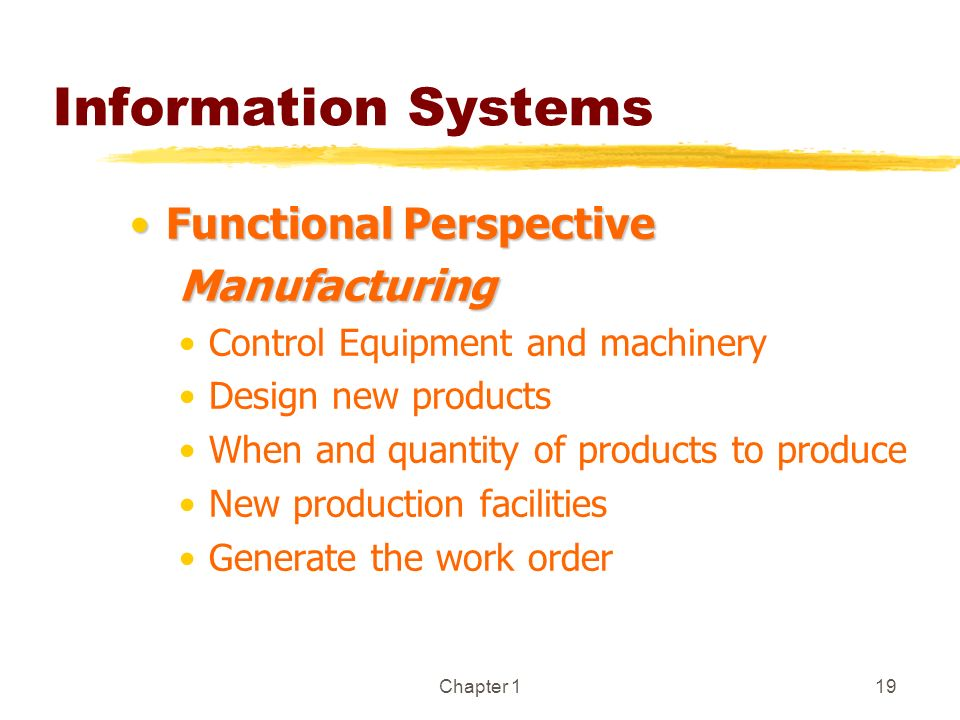 Information Systems Functional Perspective Manufacturing
