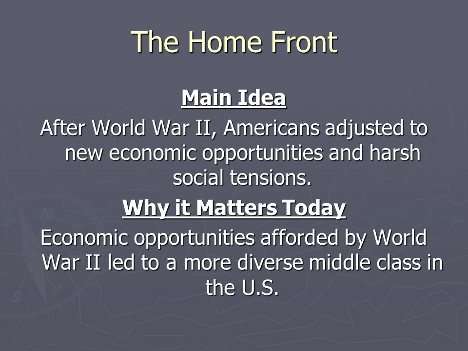 The Home Front Main Idea