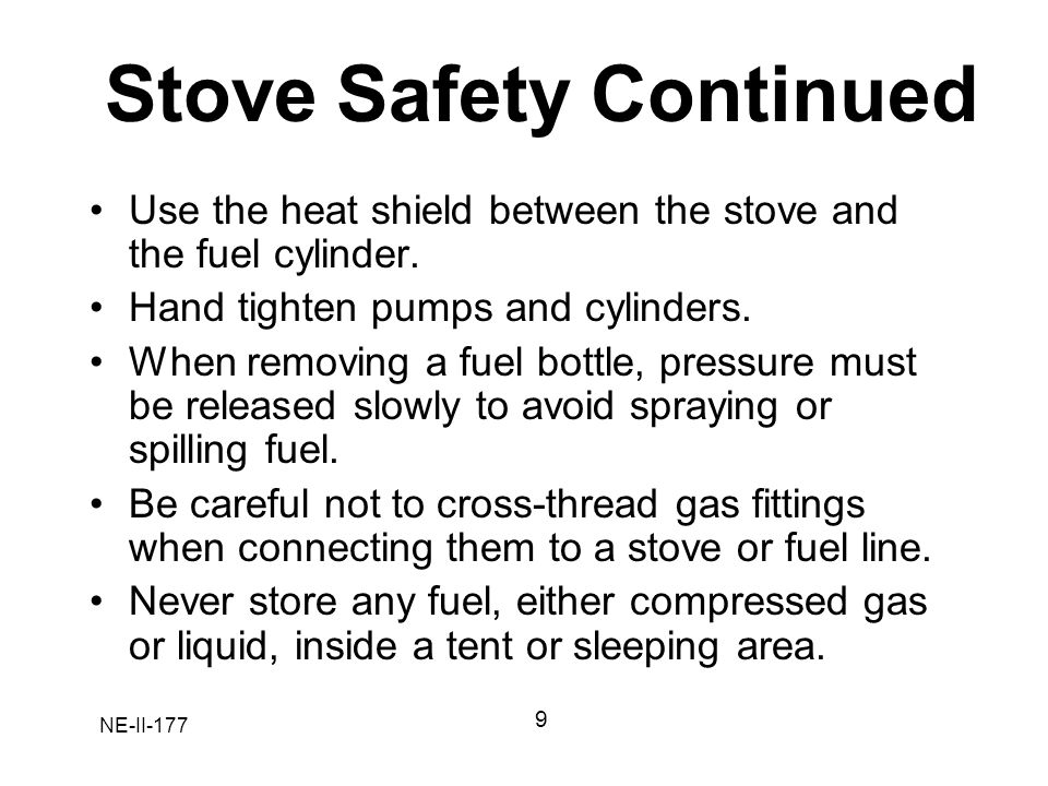 Stove Safety Continued