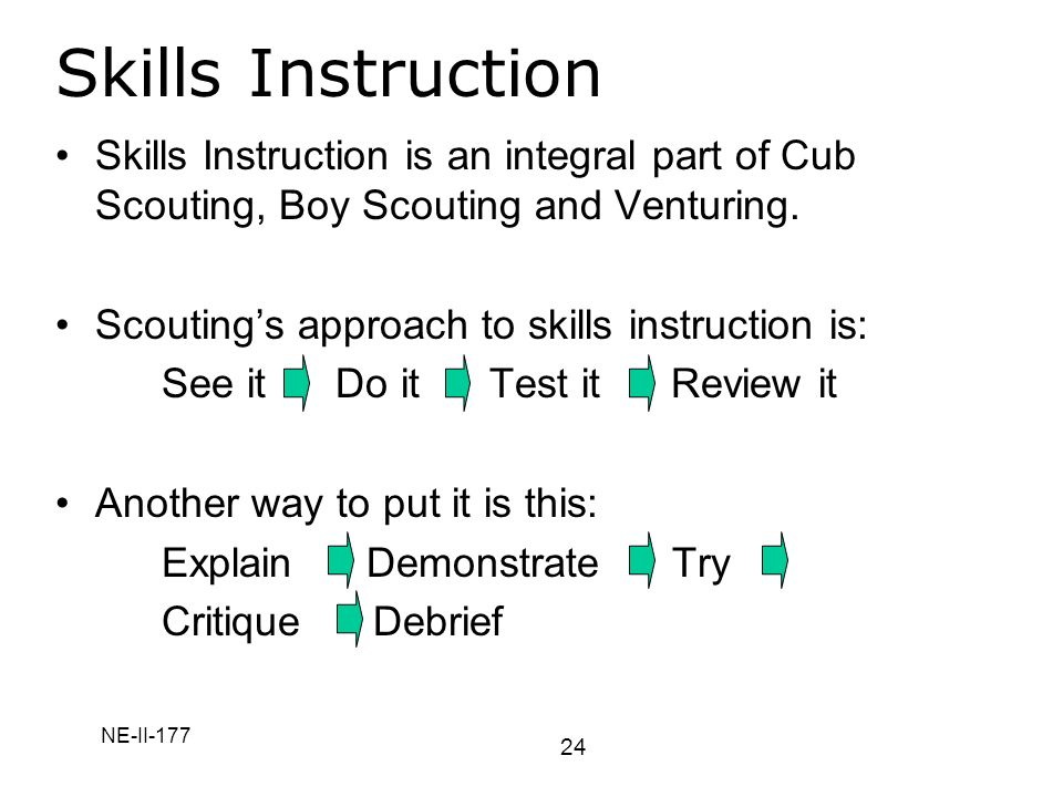 Skills Instruction Skills Instruction is an integral part of Cub Scouting, Boy Scouting and Venturing.