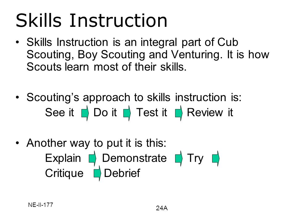 Skills Instruction Skills Instruction is an integral part of Cub Scouting, Boy Scouting and Venturing. It is how Scouts learn most of their skills.