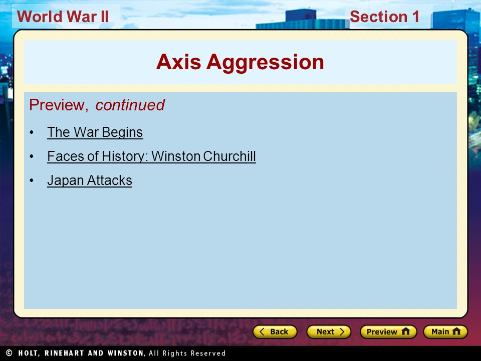 Axis Aggression Preview, continued The War Begins