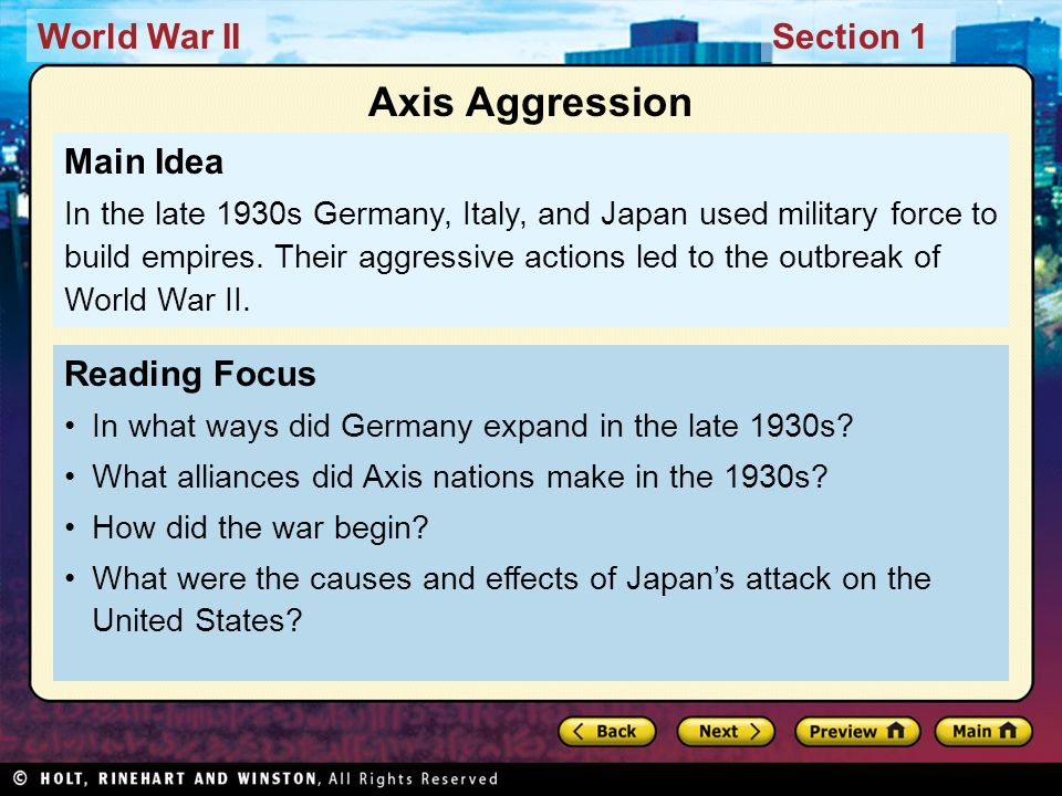 Axis Aggression Main Idea Reading Focus