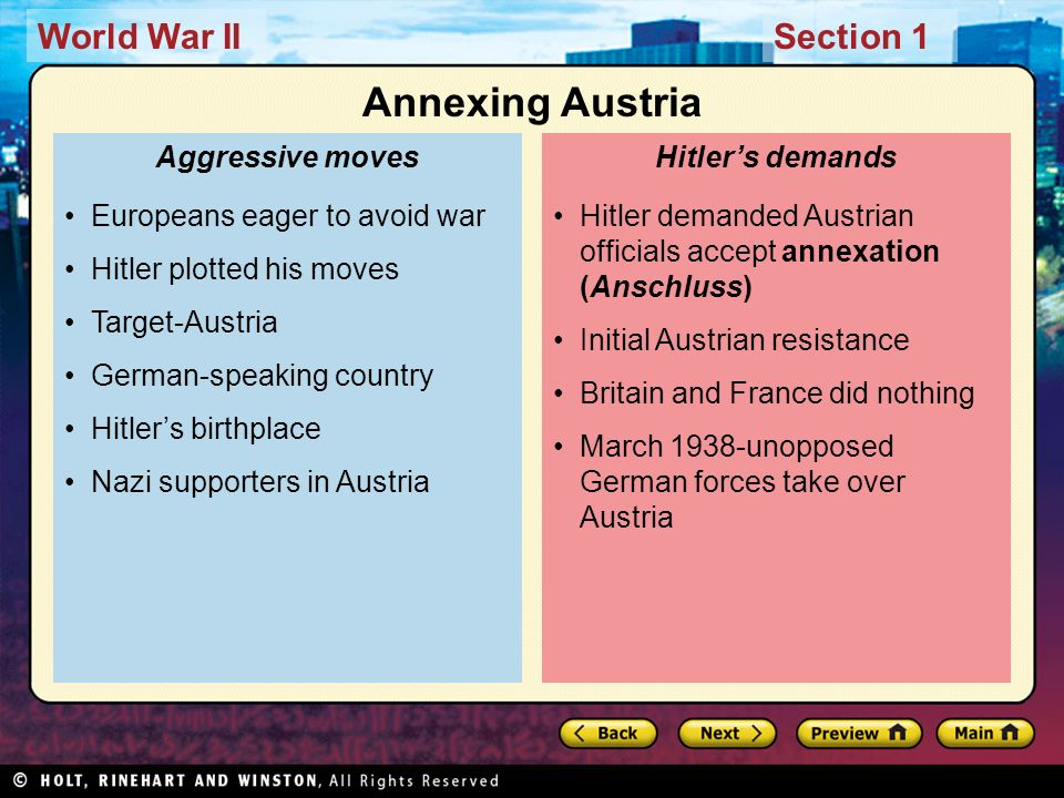 Annexing Austria Europeans eager to avoid war Hitler plotted his moves