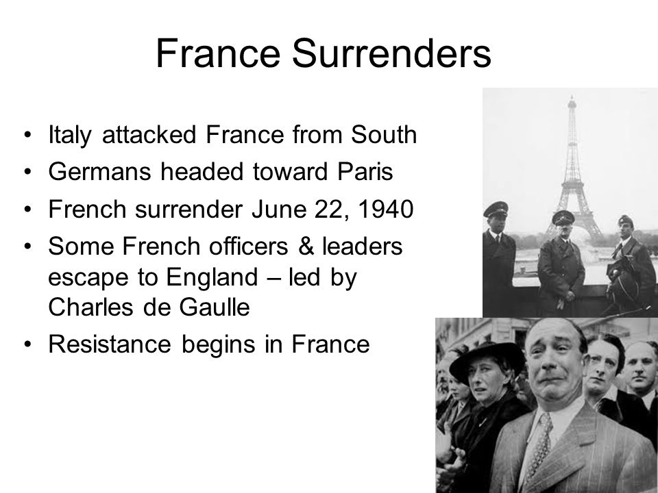 France Surrenders Italy attacked France from South