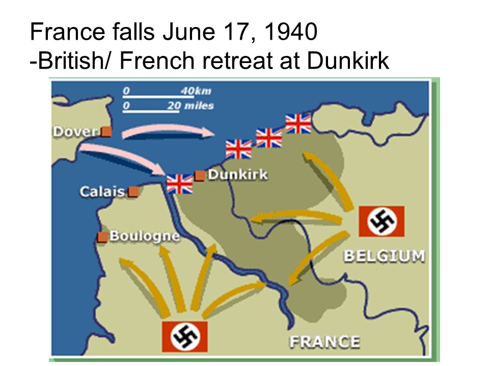 France falls June 17, 1940 -British/ French retreat at Dunkirk