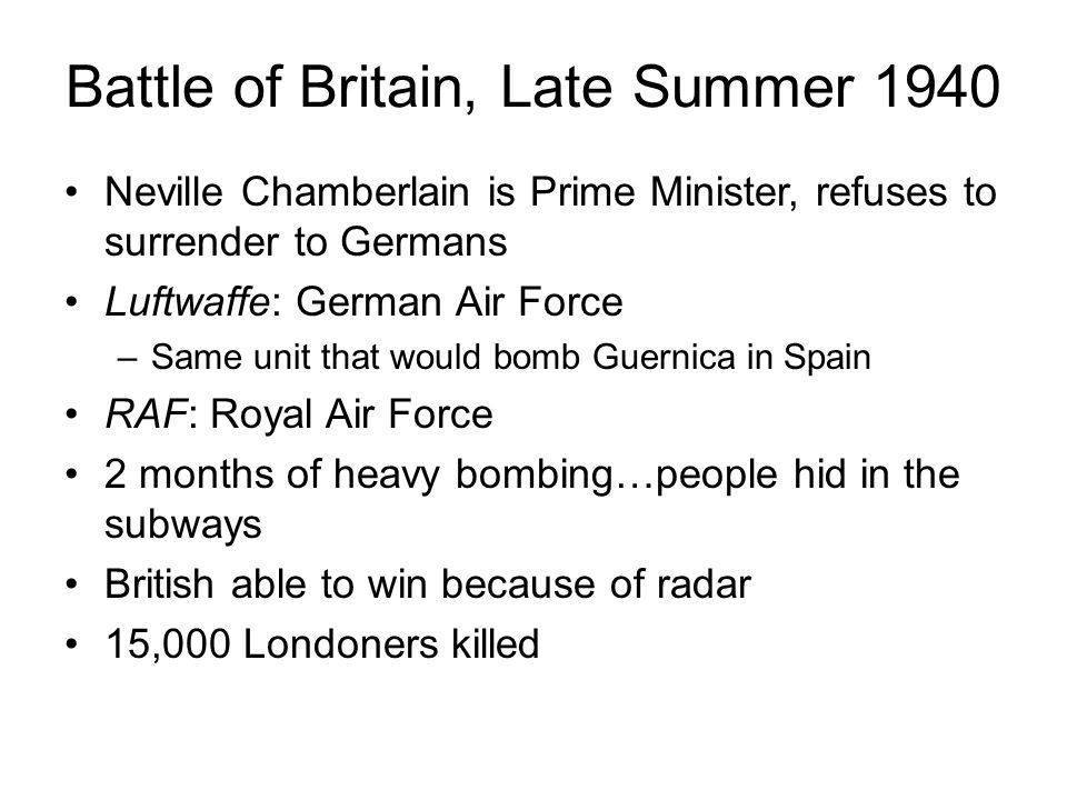 Battle of Britain, Late Summer 1940