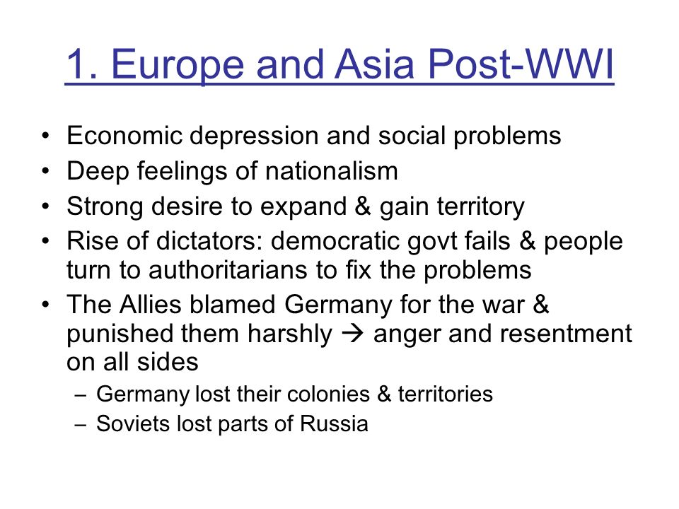 1. Europe and Asia Post-WWI