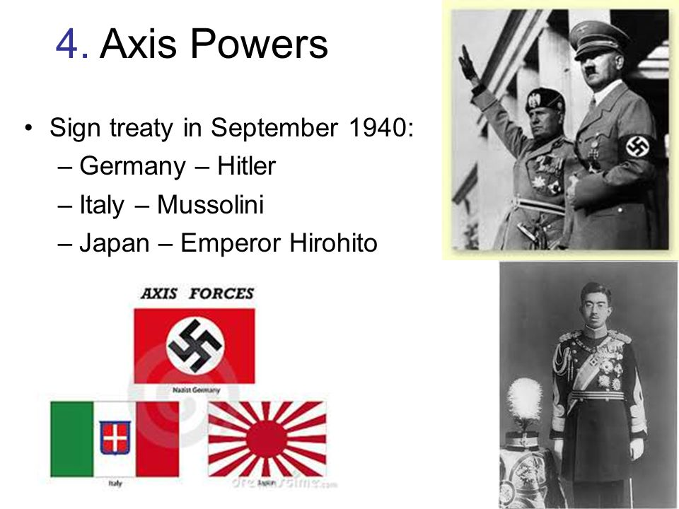 4. Axis Powers Sign treaty in September 1940: Germany – Hitler