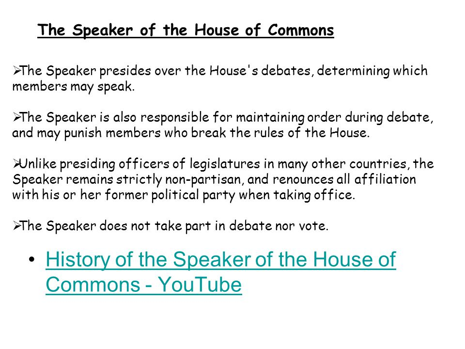 History of the Speaker of the House of Commons - YouTube