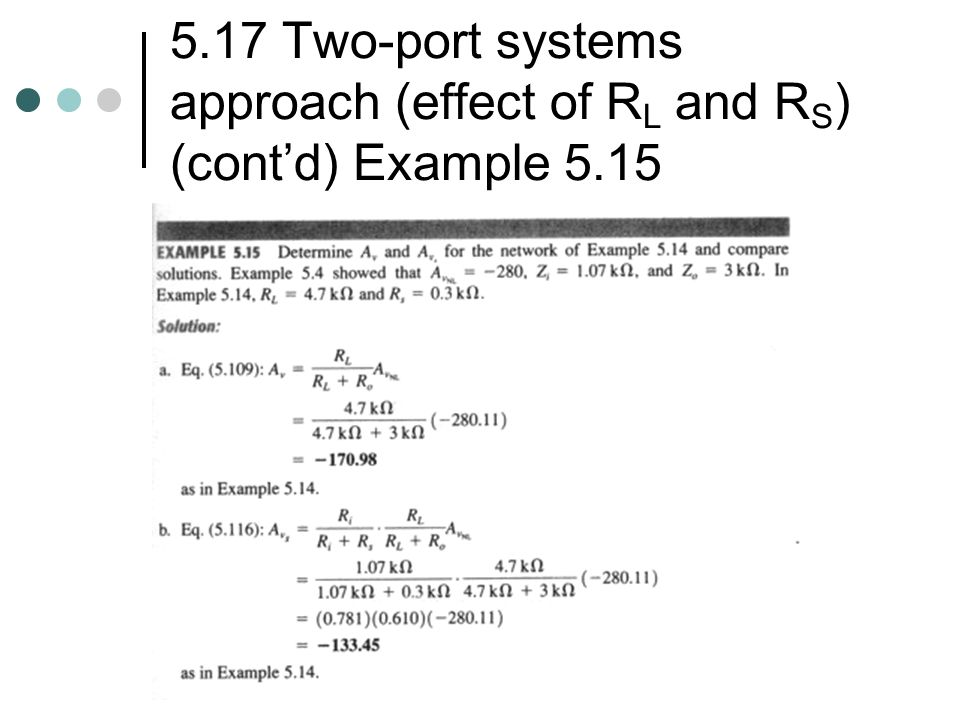 5.17 Two-port systems approach (effect of RL and RS) (cont'd) Example 5.15