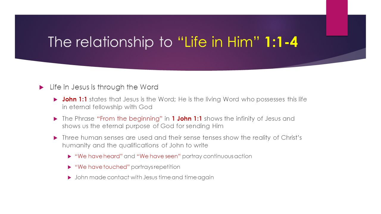 The relationship to Life in Him 1:1-4