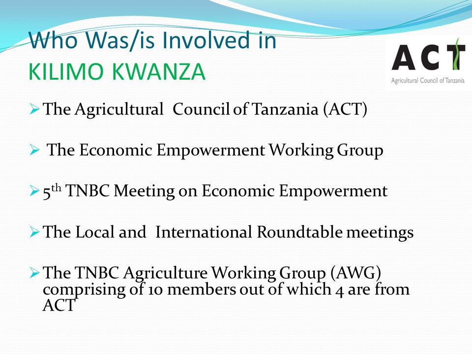 Who Was/is Involved in KILIMO KWANZA