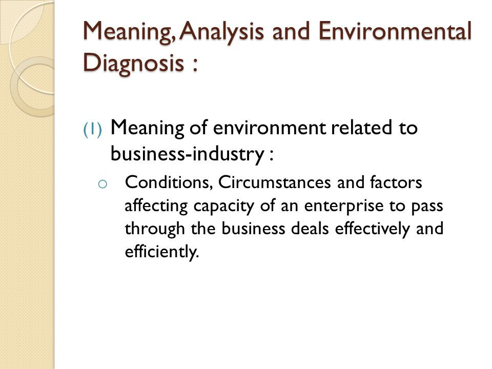 Meaning Ysis And Environmental Diagnosis