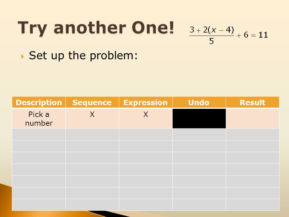 Try another One! Set up the problem: Description Sequence Expression