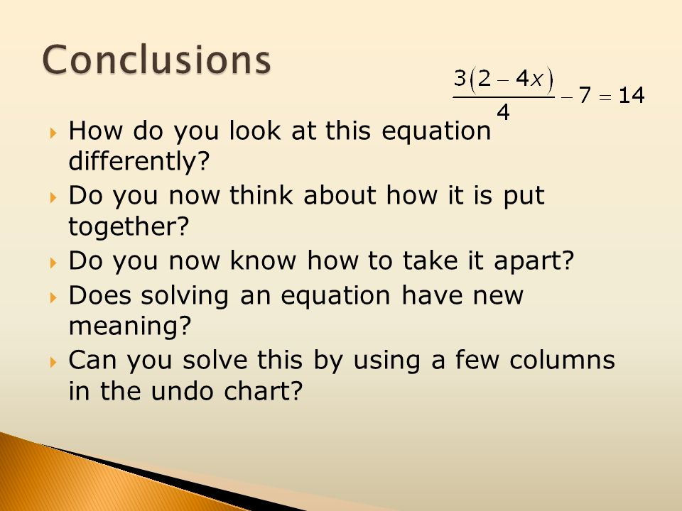 Conclusions How do you look at this equation differently