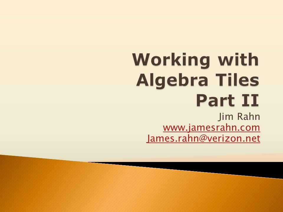 Working with Algebra Tiles Part II