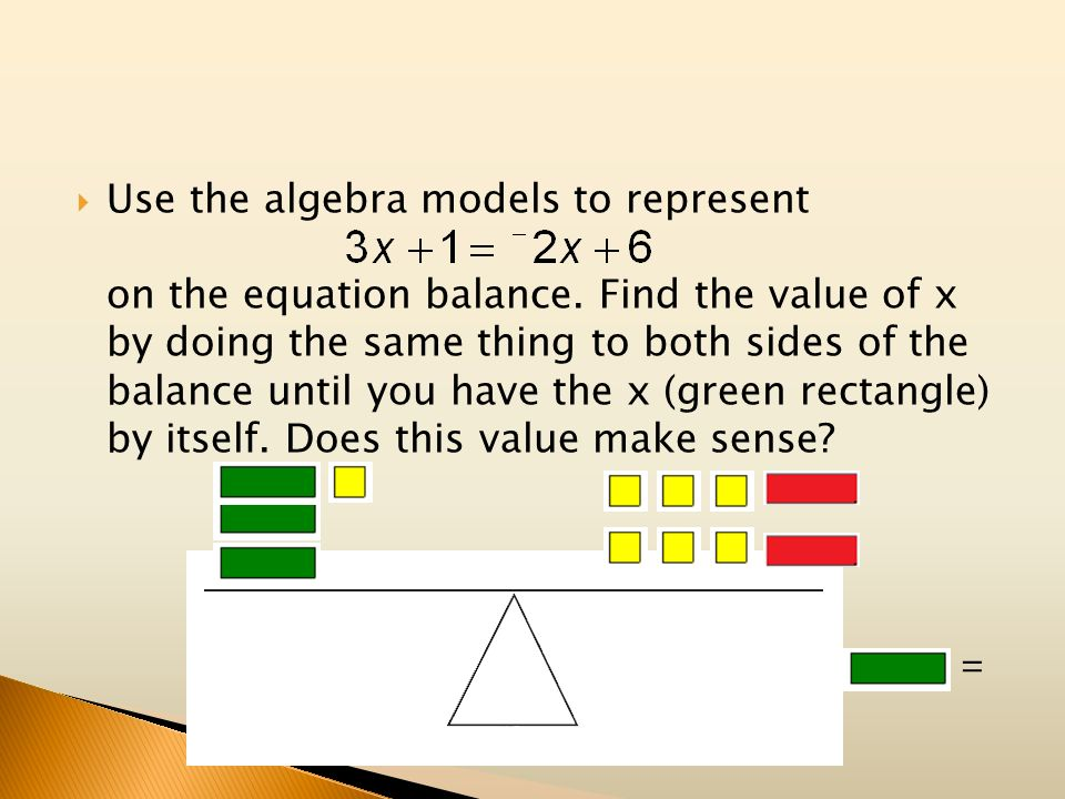 Use the algebra models to represent. on the equation balance