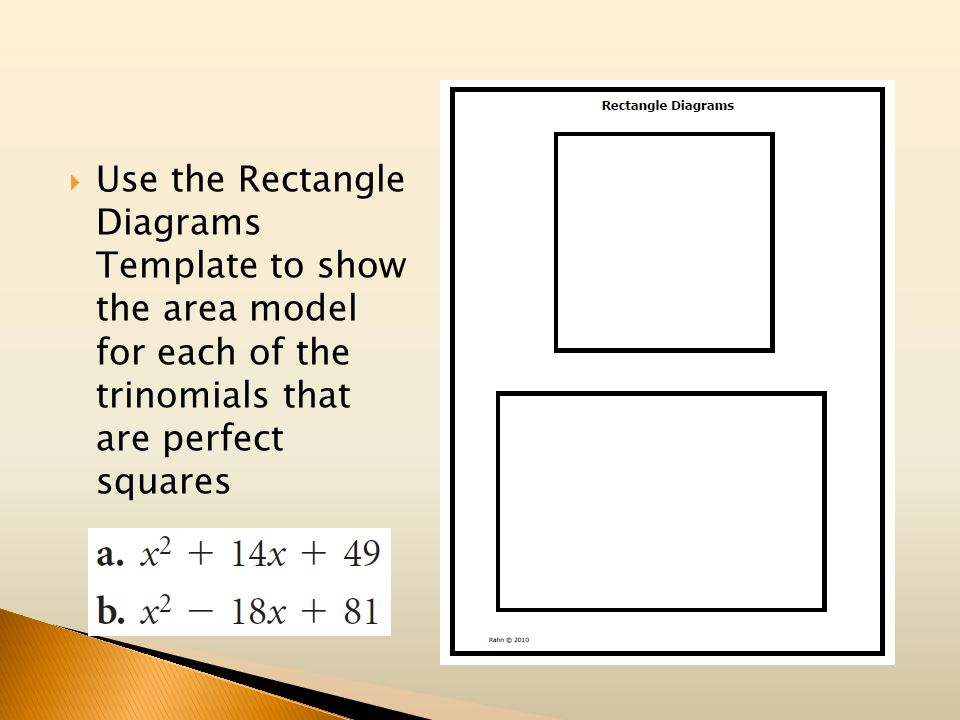 Use the Rectangle Diagrams Template to show the area model for each of the trinomials that are perfect squares