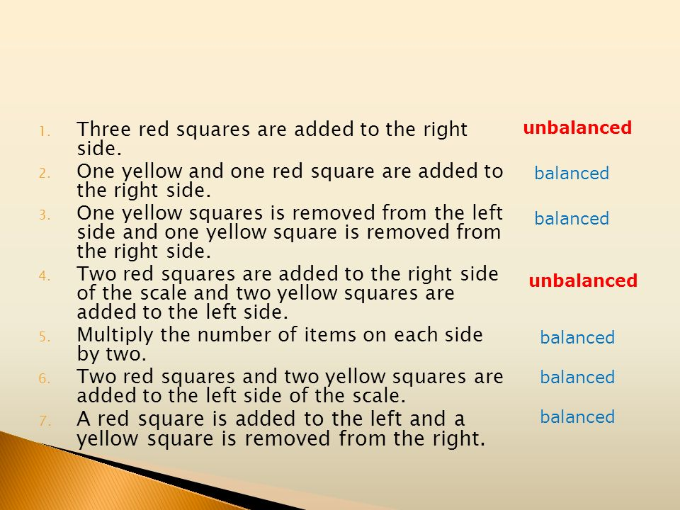 unbalanced Three red squares are added to the right side. One yellow and one red square are added to the right side.