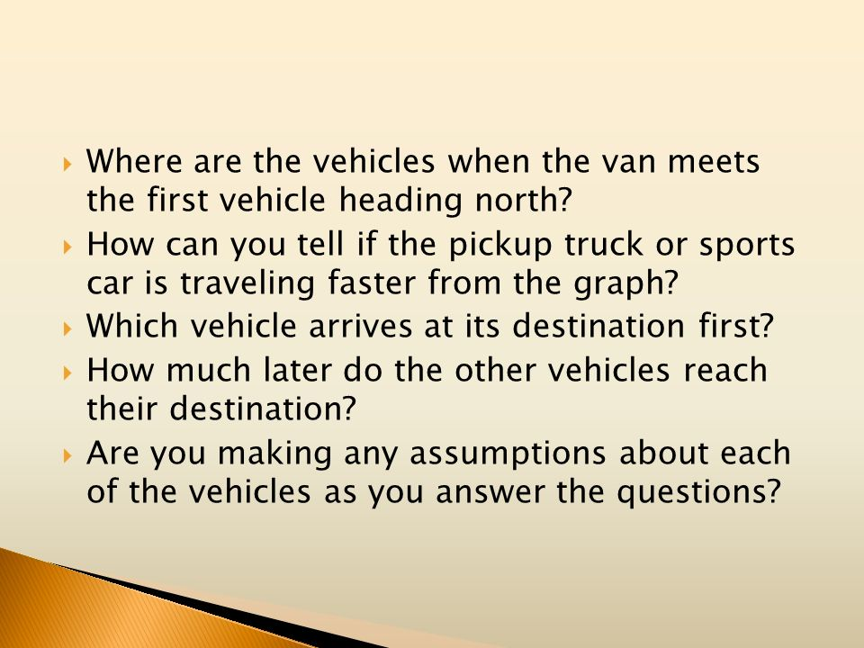 Where are the vehicles when the van meets the first vehicle heading north
