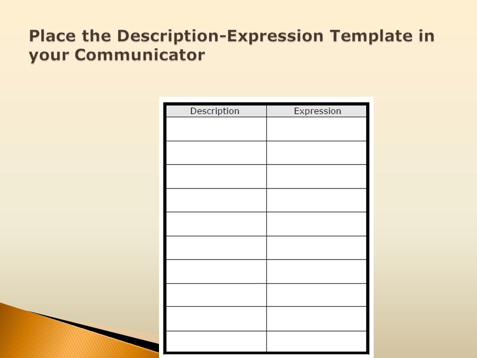 Place the Description-Expression Template in your Communicator