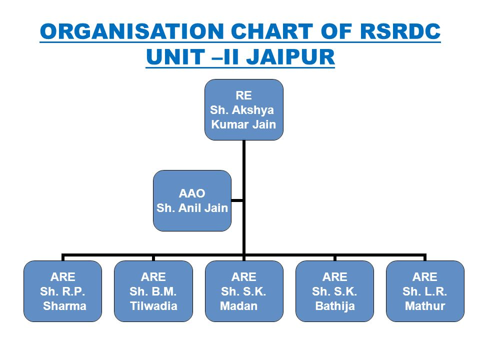 ORGANISATION CHART OF RSRDC UNIT –II JAIPUR