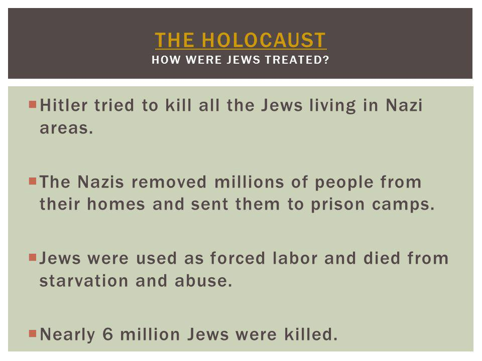 The Holocaust How were Jews treated