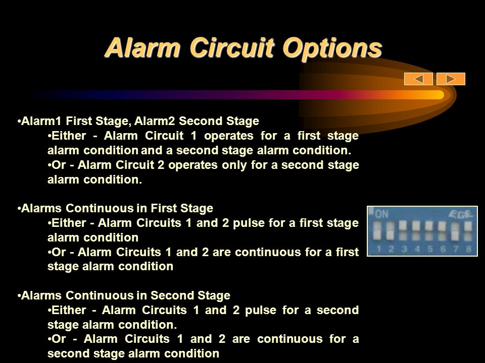 Alarm Circuit Options Alarm1 First Stage, Alarm2 Second Stage