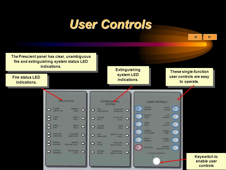 User Controls The Prescient panel has clear, unambiguous fire and extinguishing system status LED indications.
