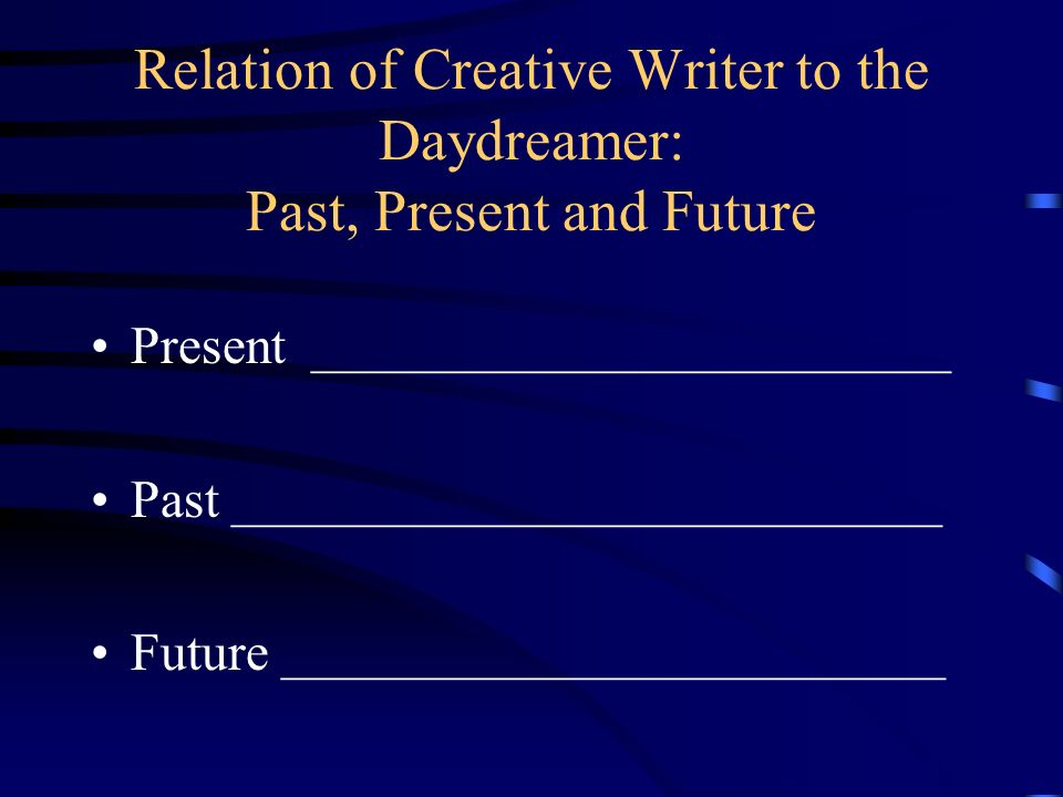 Relation of Creative Writer to the Daydreamer: Past, Present and Future