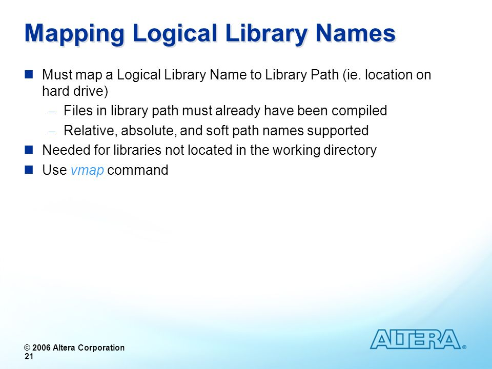Mapping Logical Library Names