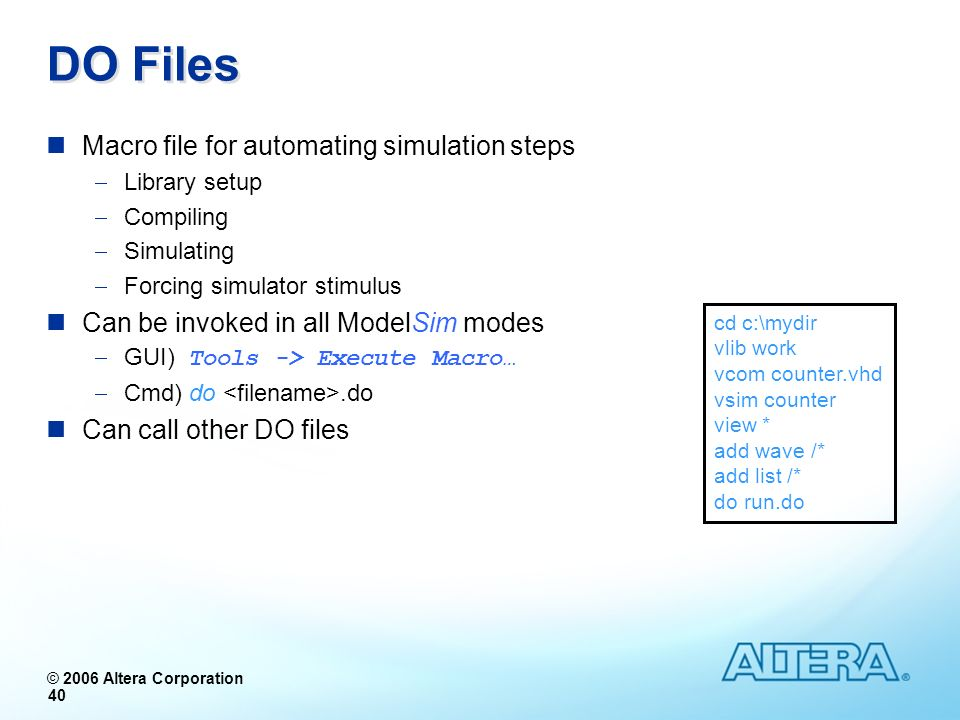DO Files Macro file for automating simulation steps