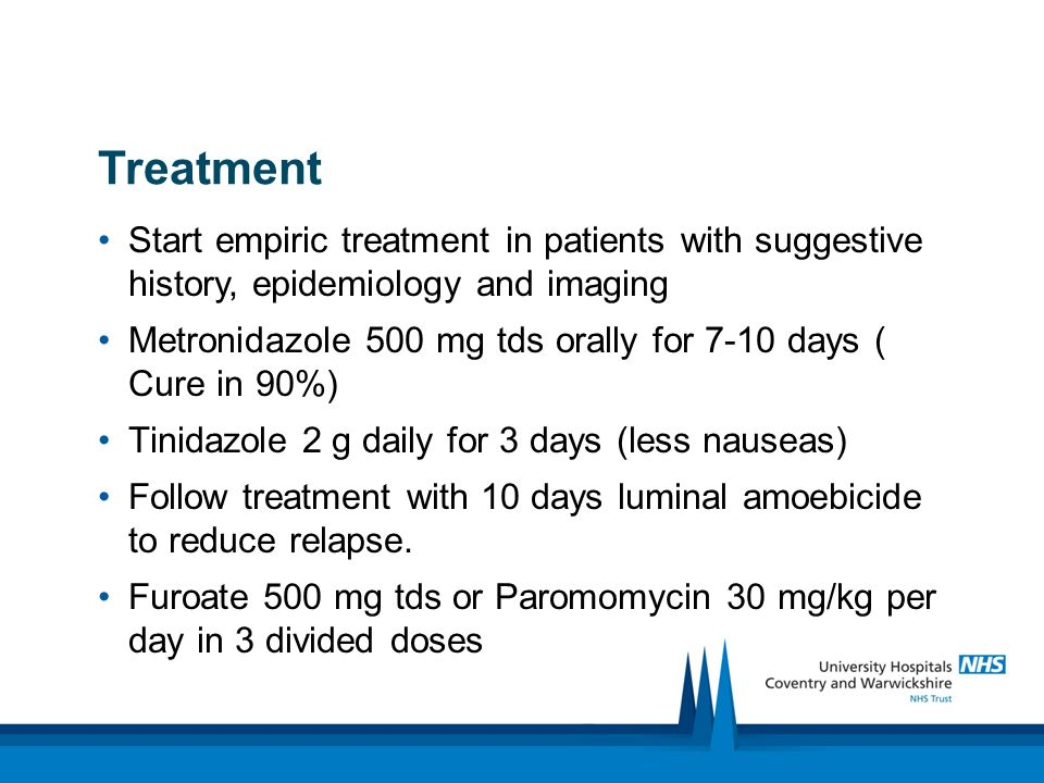 Treatment Start empiric treatment in patients with suggestive history, epidemiology and imaging.
