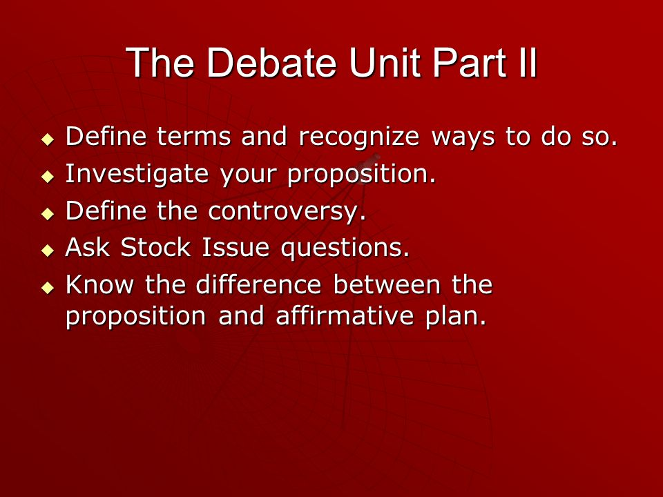 The Debate Unit Part II Define terms and recognize ways to do so.