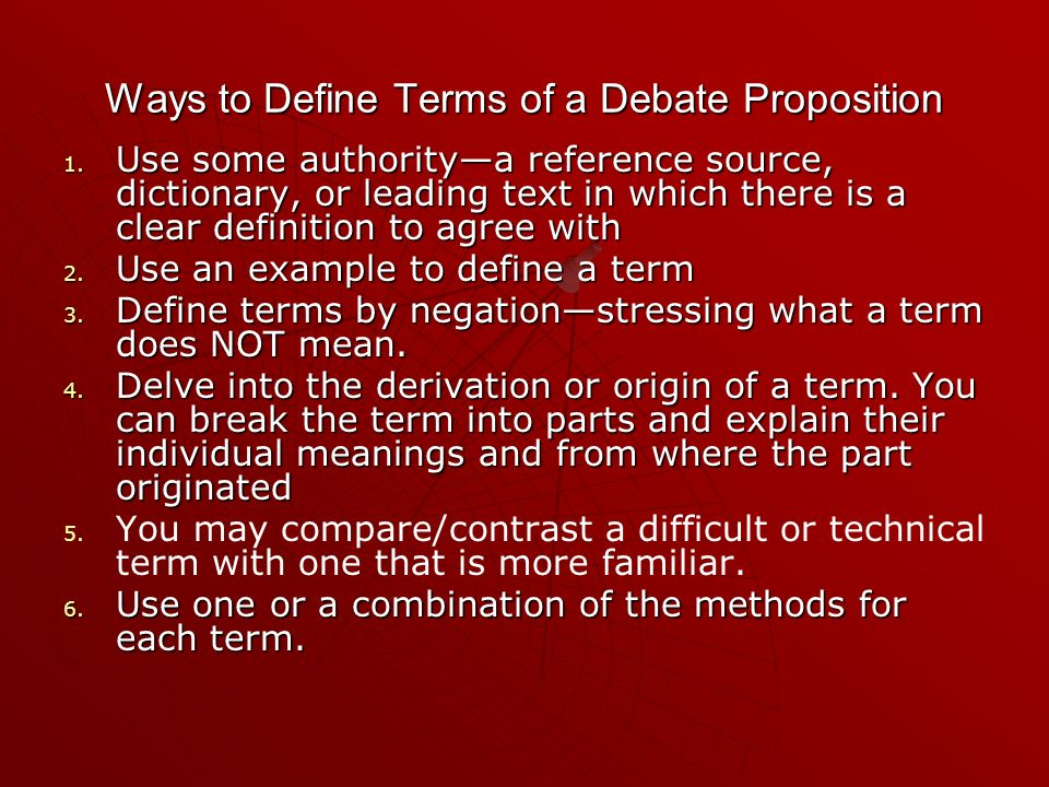 Ways to Define Terms of a Debate Proposition