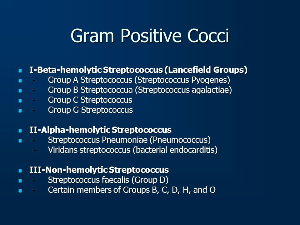 Gram Positive Cocci I-Beta-hemolytic Streptococcus (Lancefield Groups)
