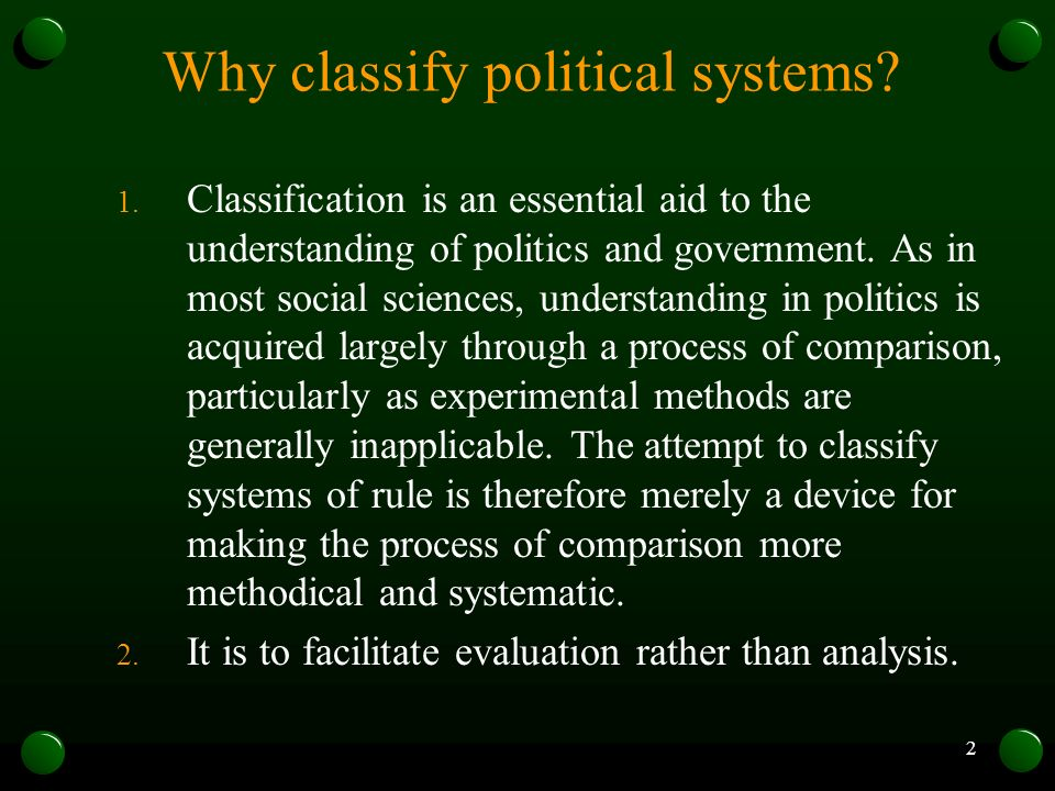 Why classify political systems