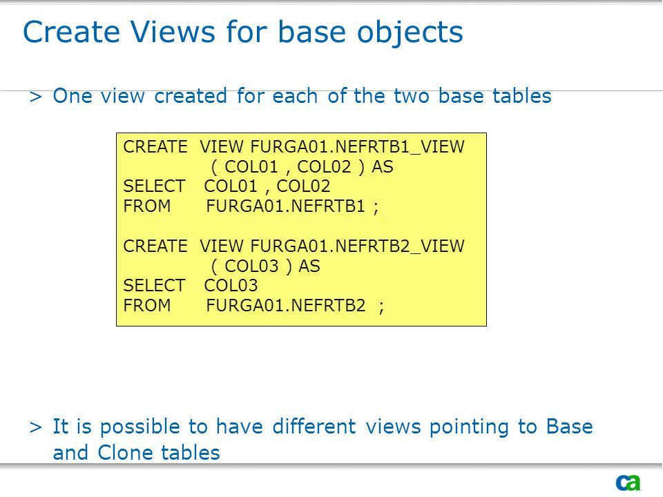 Create Views for base objects