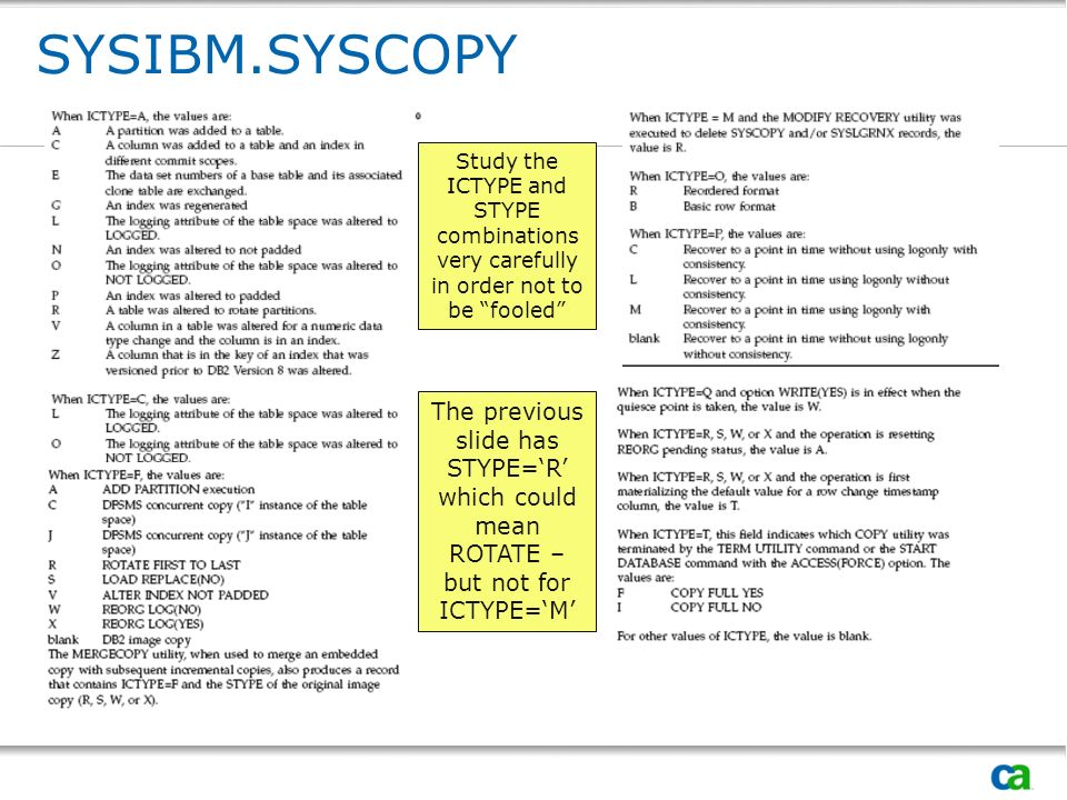 SYSIBM.SYSCOPY Study the ICTYPE and STYPE combinations very carefully in order not to be fooled