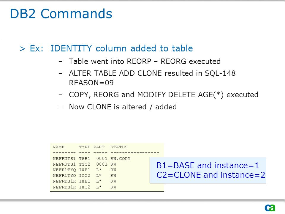 DB2 Commands Ex: IDENTITY column added to table B1=BASE and instance=1