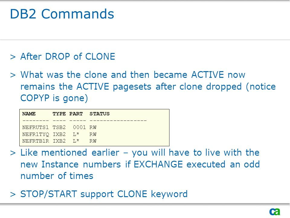 DB2 Commands After DROP of CLONE