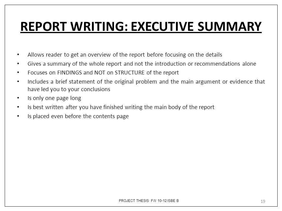 writing an executive summary for a thesis Learn what do when writing an executive summary, and particularly the importance of identifying your audience and focusing on their needs who is the intended audience of my executive summary which of the contents of the paper that i am summarising do they really need to know.