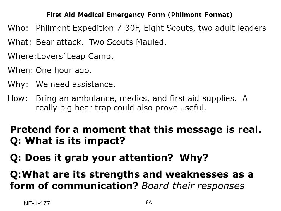 First Aid Medical Emergency Form (Philmont Format)