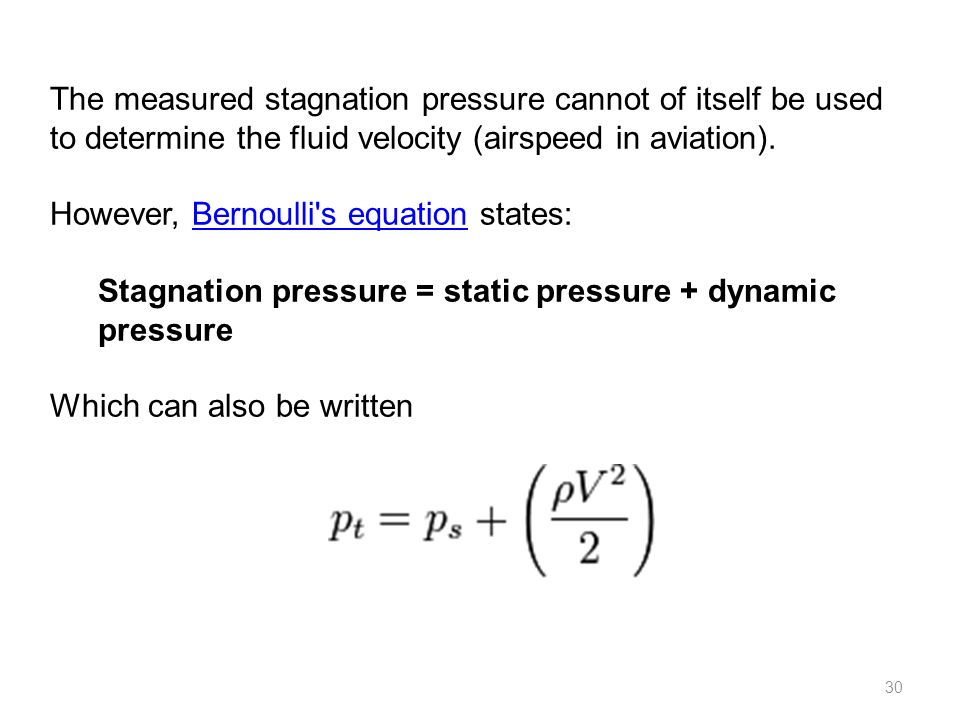 The measured stagnation pressure cannot of itself be used to determine the fluid velocity (airspeed in aviation).