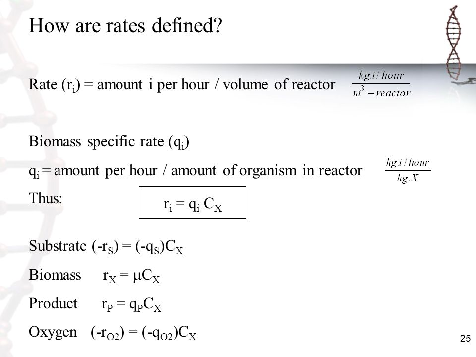 How are rates defined Rate (ri) = amount i per hour / volume of reactor. Biomass specific rate (qi)