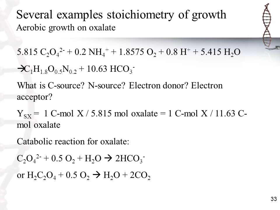 Several examples stoichiometry of growth Aerobic growth on oxalate