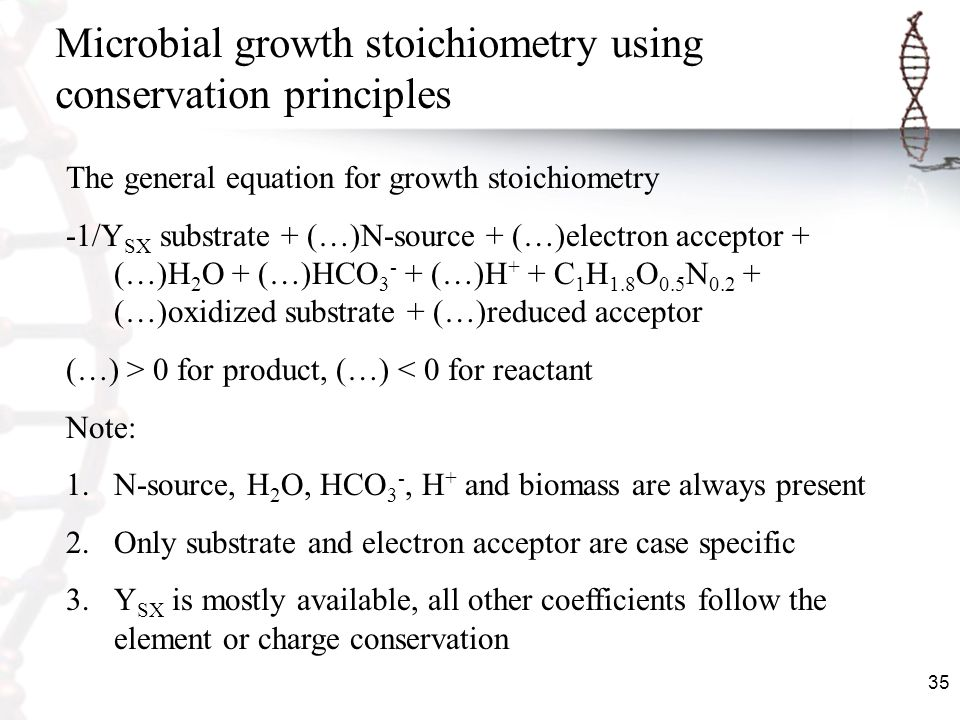 Microbial growth stoichiometry using conservation principles